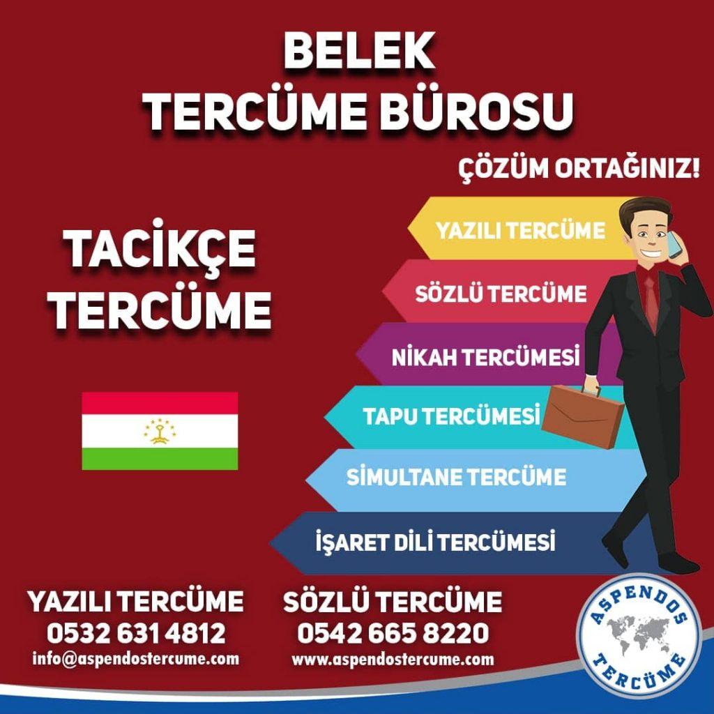 Belek Tercüme Bürosu - Tacikçe Tercüme - Aspendos Tercüme