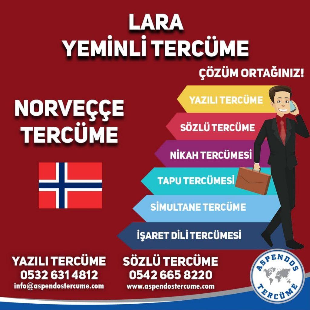 Lara Yeminli Tercüme - Norveççe Tercüme - Aspendos Tercüme