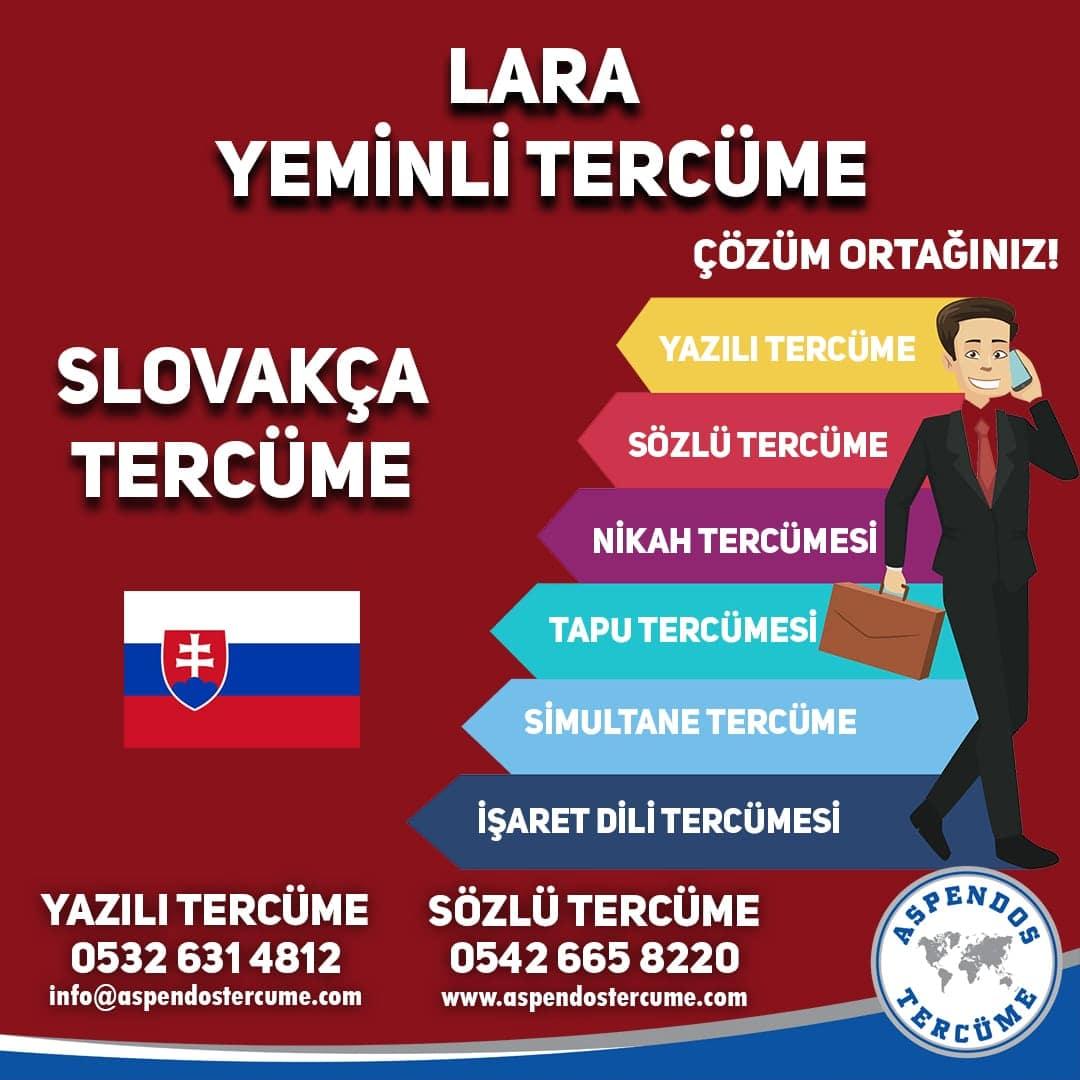 Lara Yeminli Tercüme - Slovakça Tercüme - Aspendos Tercüme