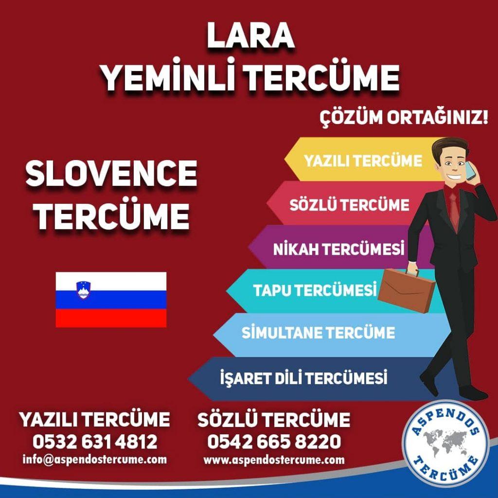 Lara Yeminli Tercüme - Slovence Tercüme - Aspendos Tercüme