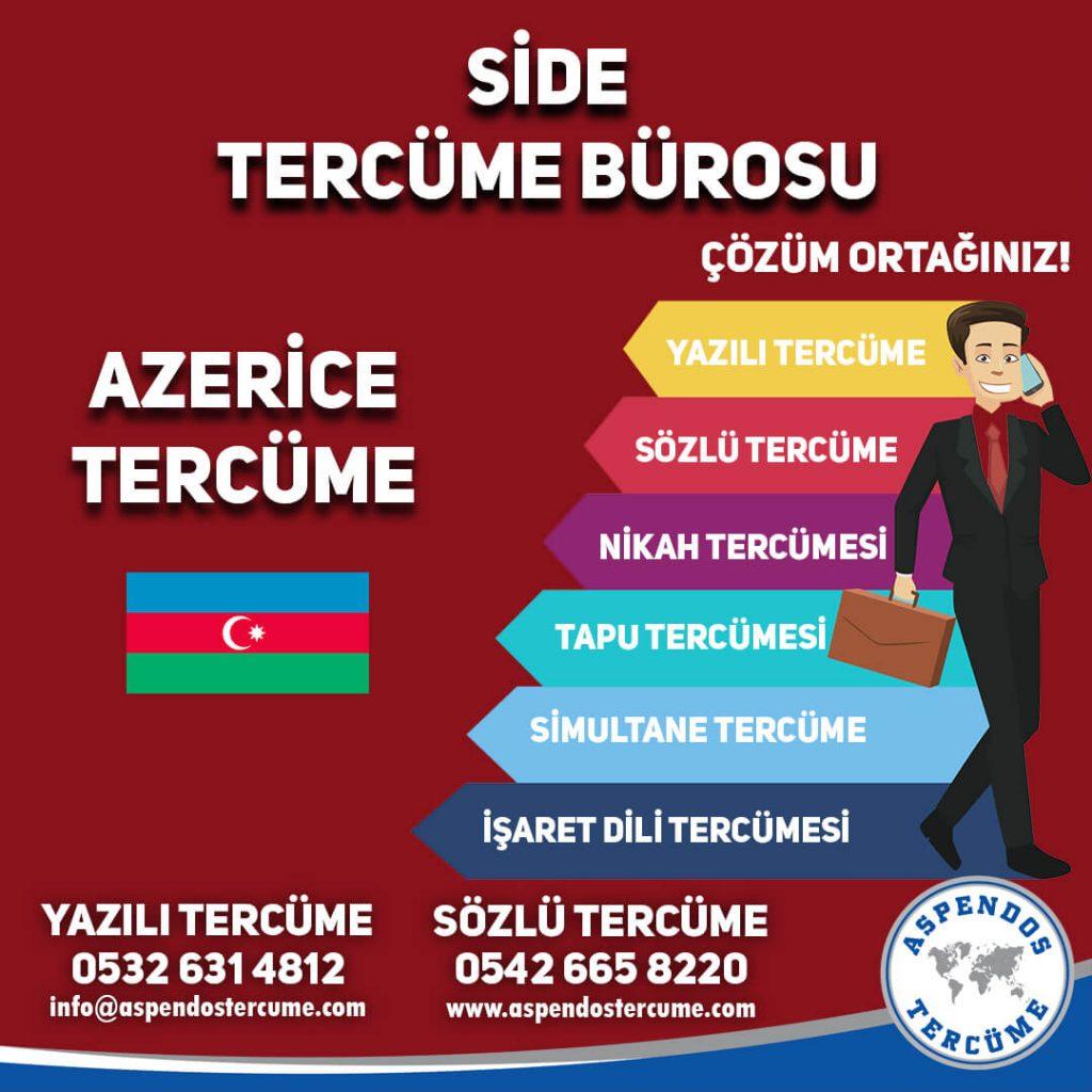 Side Tercüme Bürosu - Azerice Tercüme - Aspendos Tercüme