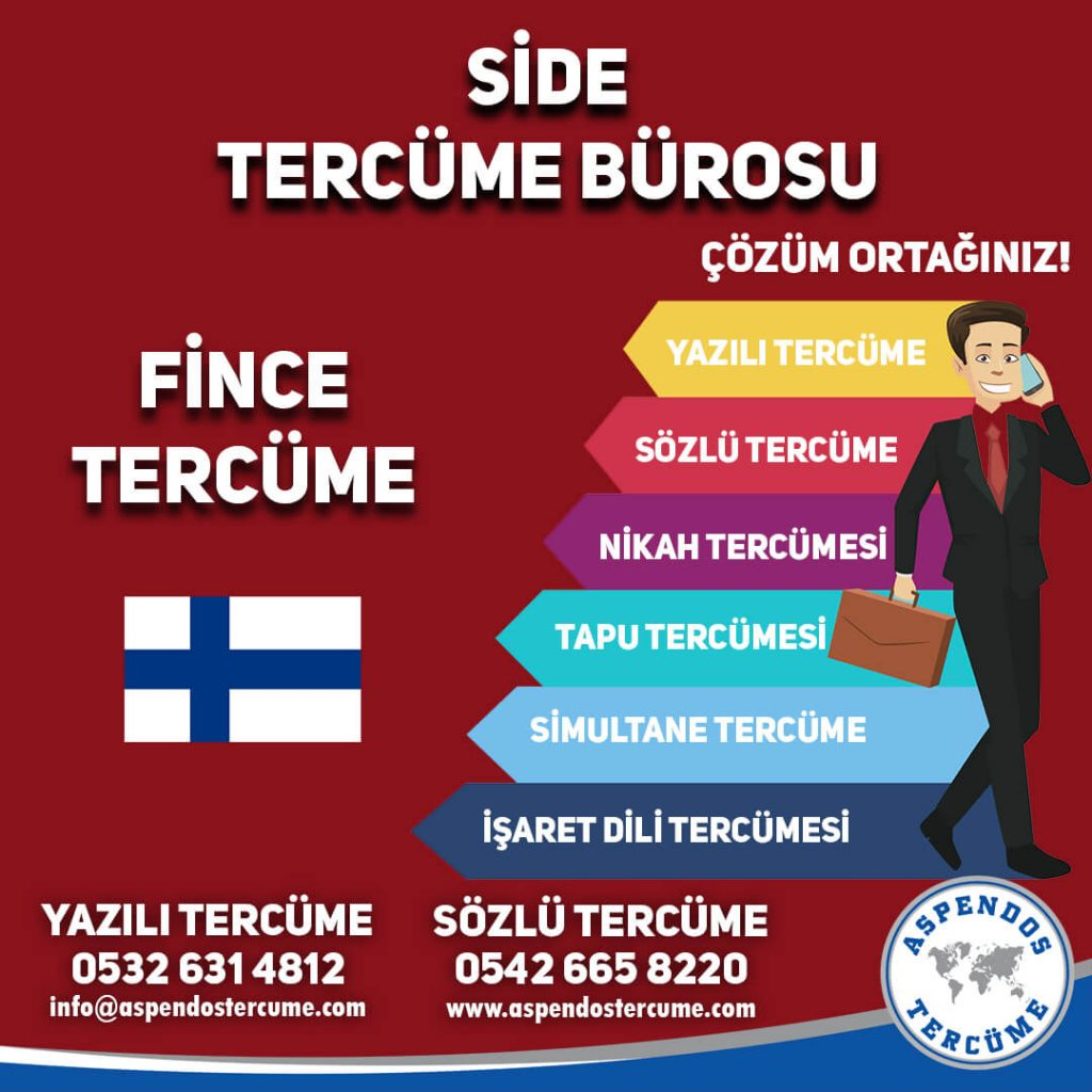 Side Tercüme Bürosu - Fince Tercüme - Aspendos Tercüme