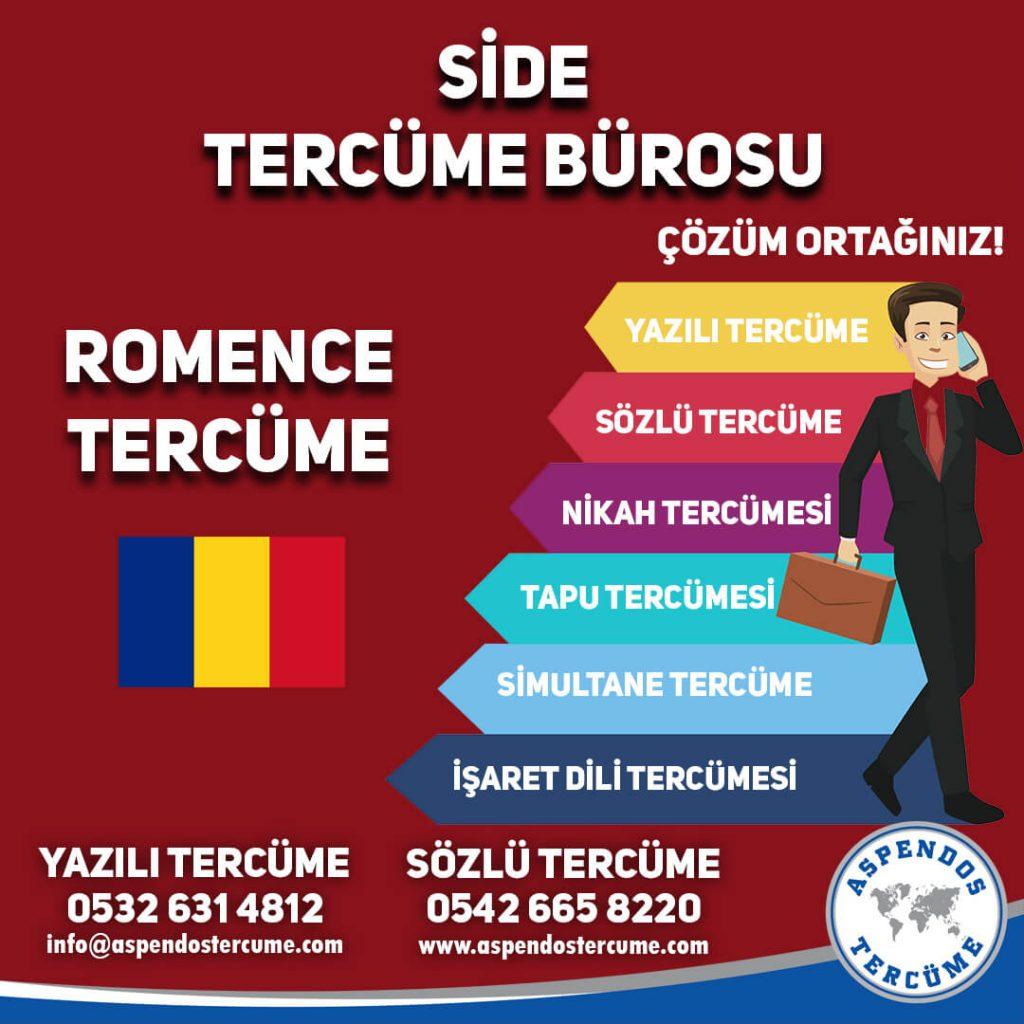 Side Tercüme Bürosu - Romence Tercüme - Aspendos Tercüme