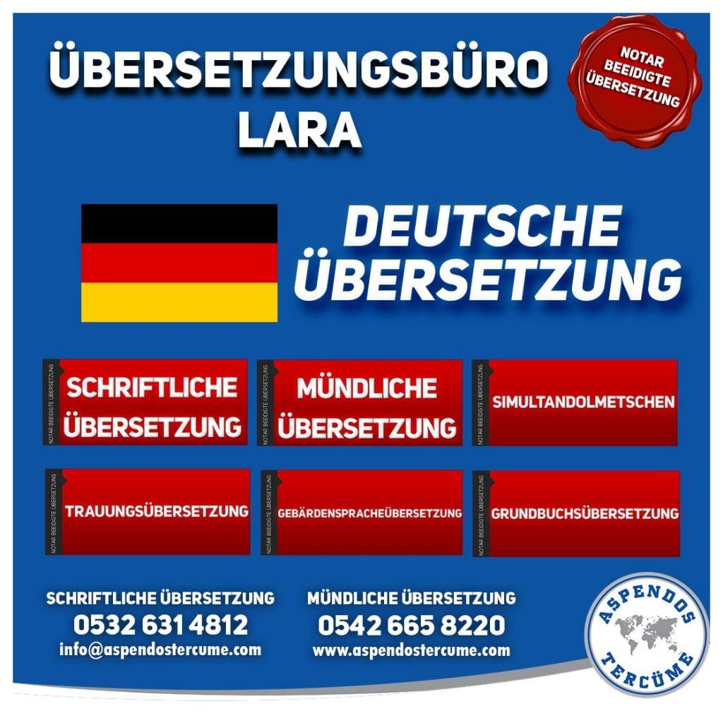 Lara Übersetzungsbüro - Deutsche Übersetzungen - Aspendos Übersetzungsdienste