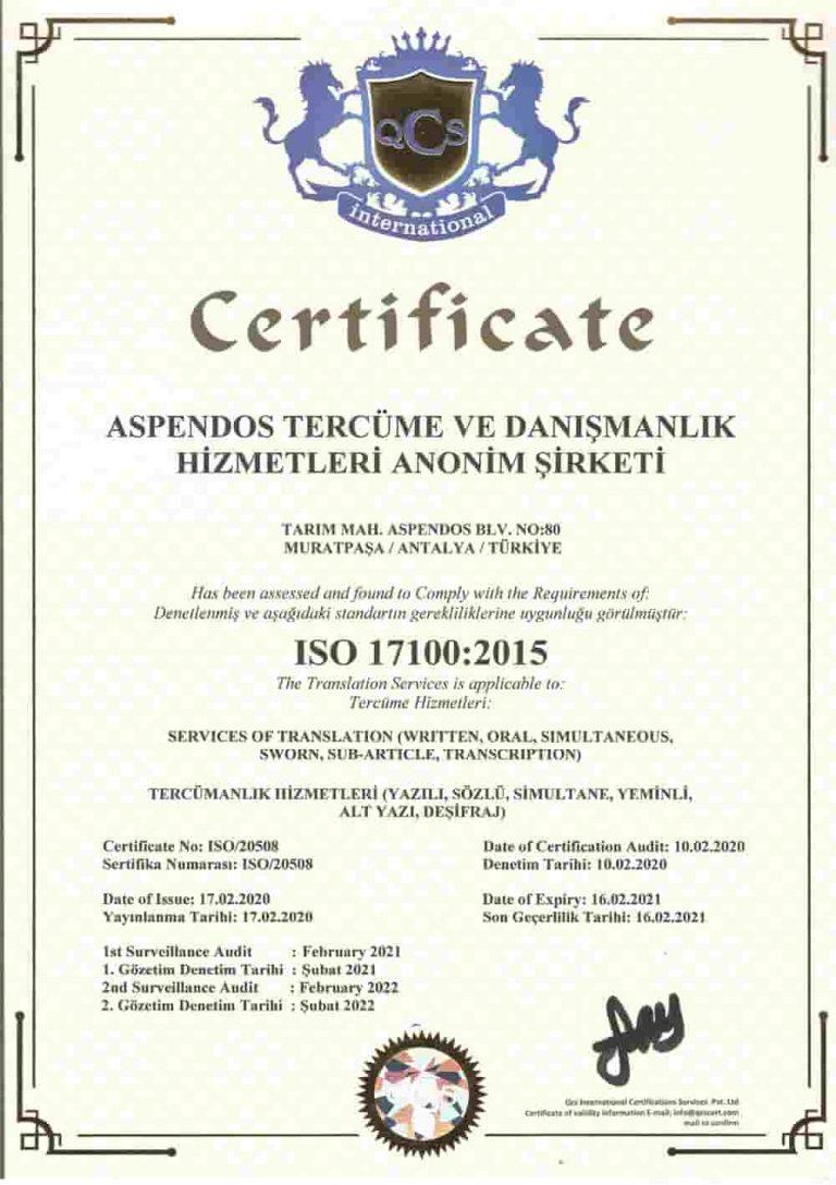 Aspendos Tercüme ISO 17100:2015