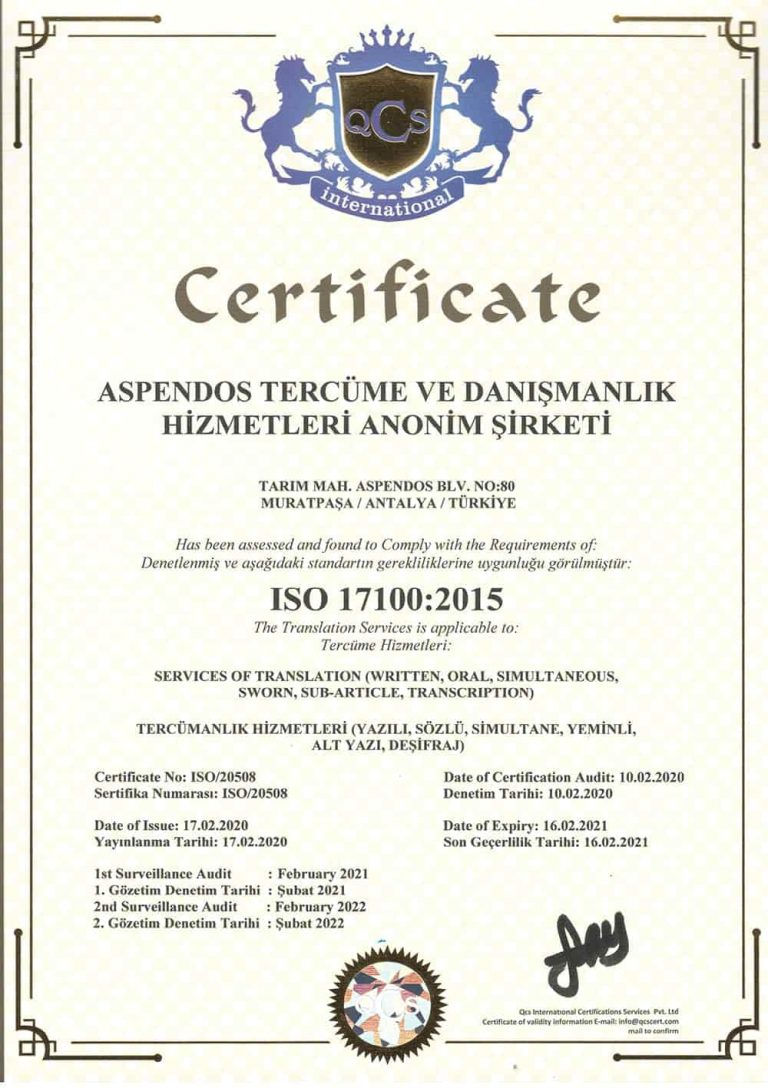 Aspendos Tercüme ISO-17100:2015