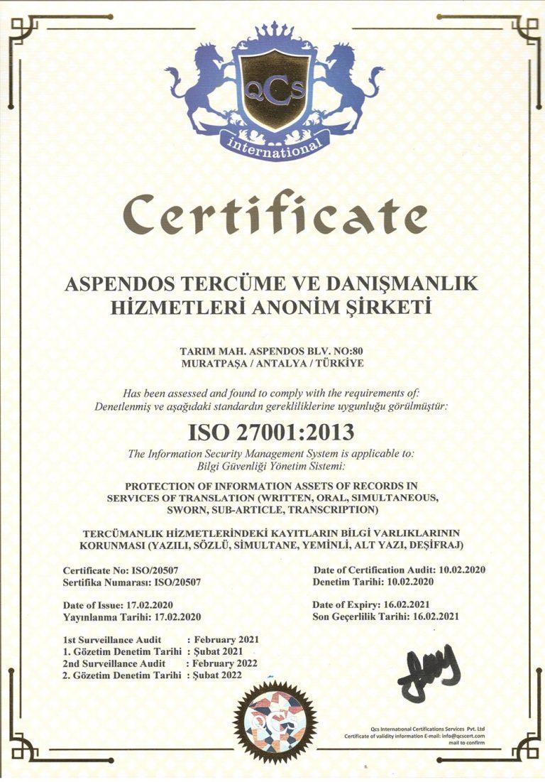 Aspendos Tercüme - ISO 27001:2013
