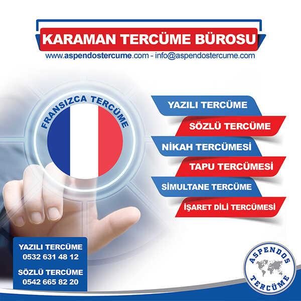 Karaman Fransızca Tercüme Hizmeti