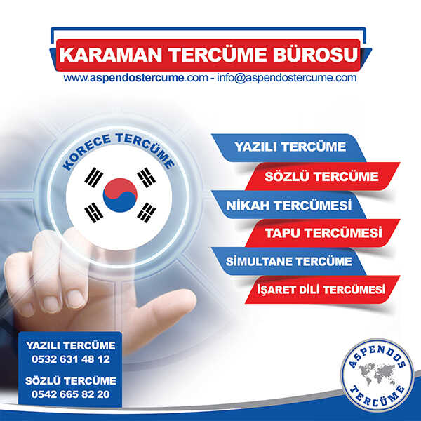 Karaman Korece Tercüme Hizmeti